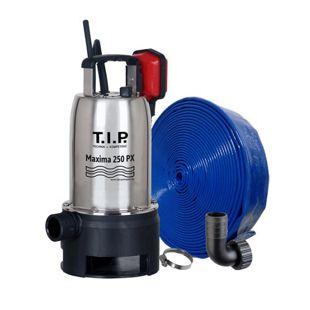 T.I.P. MAXIMA 250 PX Schmutzwasser-Tauchpumpe mit 10 m Ablaufschlauch Ø 32 mm