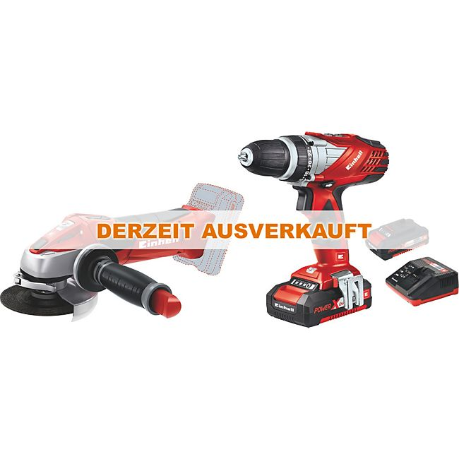 einhell werkzeugset te tk 18 li kit cd ag 18v akkuschrauber und akku winkelschleifer power x. Black Bedroom Furniture Sets. Home Design Ideas