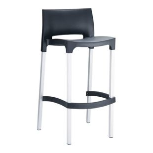 CLP Outdoor-Barhocker GIO mit Kunststoffsitz I Thekenhocker mit Lehne und Fußstütze I Tresenstuhl mit Aluminiumgestell und einer Sitzhöhe von: 75 cm I In verschiedenen Farben erhältlich