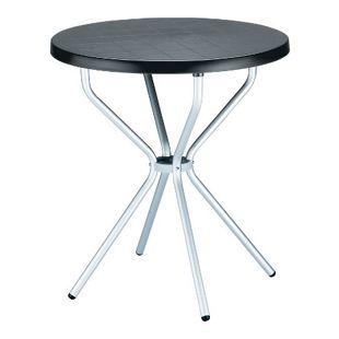CLP Balkon Bistro-Tisch ELFO, rund  Ø 70 cm, Esstisch Höhe 72 cm, Kunststoff / Aluminium, wetterfest, 4 Personen, ideal für Balkon & Terrasse