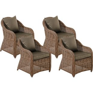 CLP 4er Set Sessel STAVANGER I FARSUND inklusive Sitzkissen I Robuster Gartenstuhl mit einem Untergestell aus Aluminium I 5mm starkes Polyrattan