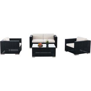CLP Outdoor Lounge-Set BRAC 2-1-1 aus Aluminium & wasserabweisender Stoff | Gartengarnitur mit 4 Sitzplätzen | Loungesofa-Ecke mit Tisch 100 x 75 cm
