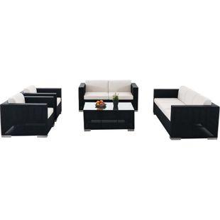 CLP Outdoor Lounge-Set BRAC XL aus Aluminium & wasserabweisender Stoff | Gartengarnitur mit 7 Sitzplätzen | Loungesofa-Ecke mit Tisch 100 x 75 cm