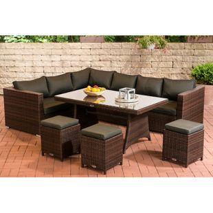 CLP Gartengarnitur SORANO | Sitzgruppe mit 8 Sitzplätzen | Gartenmöbel-Set aus Polyrattan