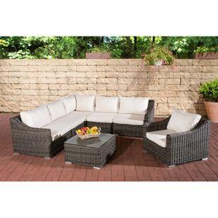 CLP Gartengarnitur DEL MAR | Sitzgruppe mit 6 Sitzplätzen | Gartenmöbel-Set aus Polyrattan | In verschiedenen Farben erhältlich