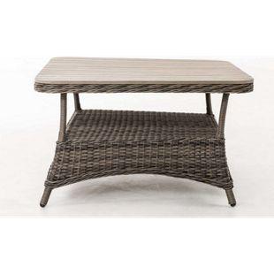 CLP Design Outdoor Lounge-Tisch PANDORA, Höhe 60 cm, Tischplatte WPC, 5 mm Rattan Geflecht, ALU Gestell, mit Stauraum, Ablage unter der Tischplatte