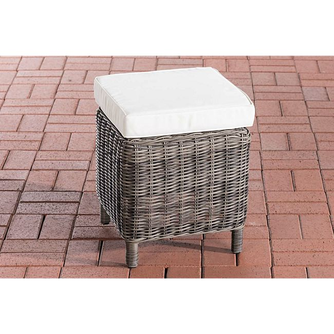 clp poly rattan hocker vilato 5 mm rund rattan fu hocker 38 x 38 cm h he 40 cm gestell aus. Black Bedroom Furniture Sets. Home Design Ideas