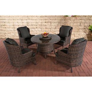 CLP Polyrattan-Sitzgruppe JARDIN I Gartengarnitur bestehend aus vier Sesseln und einem Tisch I In verschiedenen Farben erhältlich