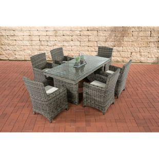 CLP Polyrattan Sitzgruppe FONTANA inkl. Polsterauflagen | Garten-Set: ein Esstisch mit Glasplatte und sechs Stühle | In verschiedenen Farben erhältlich