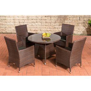 CLP Polyrattan Gartenmöbel SANREMO   Garten-Set: vier Gartenstühlen und ein Bistrotisch   In verschiedenen Farben erhältlich