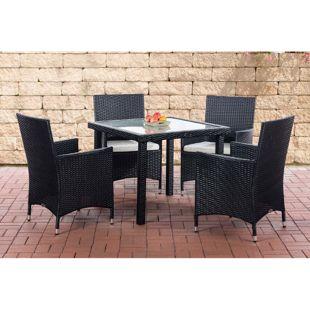CLP Balkon Sitzgruppe RIO aus Polyrattan | Outdoor-Möbel für Balkon und Terrasse | Wetterfester Tisch mit Stühlen | In verschiedenen Farben erhältlich