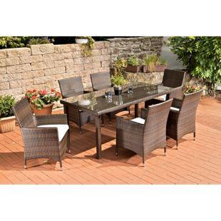 CLP Polyrattan-Gartenmöbel FLORENZ | Robuste Gartengarnitur mit Aluminiumgestell | 7 teiliges Garten-Set | In verschiedenen Farben erhältlich