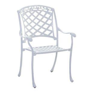 CLP Alu-Guss Garten-Stuhl INDIRA, Stapelstuhl mit Armlehnen, nostalgisches Design, Stuhl mit romantischen Verzierungen, stapelbarer Metallstuhl in verschiedenen Farben