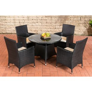 CLP Polyrattan Gartenmöbel SANREMO | Garten-Set: vier Gartenstühlen und ein Bistrotisch | In verschiedenen Farben erhältlich