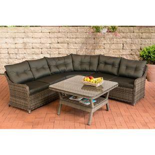CLP Polyrattan Gartenlounge LORETO | Garten-Set: ein Loungesofa und ein Glastisch | In verschiedenen Farben erhältlich