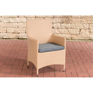 CLP Polyrattan-Gartenstuhl JULIA mit robustem Untergestell aus Aluminium I Gartenstuhl mit Sitzkissen I In verschiedenen Farben erhältlich