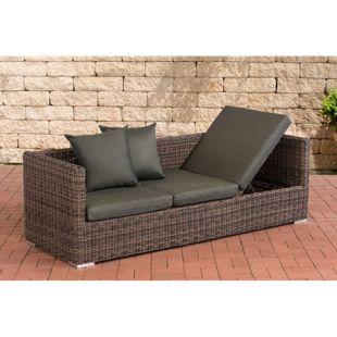 CLP Poly-Rattan Lounge-Sofa SOLANO 5 mm, ALU-Gestell, 3 er Sofa / Sonnenliege