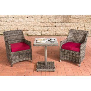 CLP Polyrattan Gartengarnitur ARMETTA | Gartenmöbel-Set: 2 Gartenstühle und ein Tisch | In verschiedenen Farben erhältlich