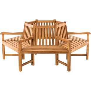 CLP Baumbank SONJA aus massivem Teakholz I Rundbank mit Armlehnen I Holzbank mit sechs Sitzplätzen I In verschiedenen Größen erhältlich