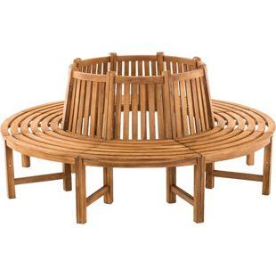 CLP Baumbank NOVUM aus massivem Teakholz I Rundbank mit acht Sitzplätzen I Naturbelassene Holzbank mit Rückenlehne   In verschiedenen Größen erhältlich
