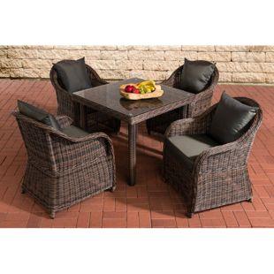 CLP Polyrattan Gartengarnitur SAN JUAN XL | Gartenmöbel-Set: 4 Sessel und ein Esstisch | In verschiedenen Farben erhältlich