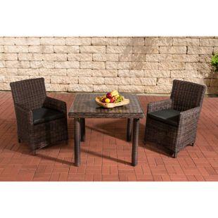 CLP Polyrattan Sitzgruppe DORADO, Tisch mit Klarglas Tischplatte 100x100 cm, inkl. Sitzpolster, bis zu 25 Farbkombinationen wählbar