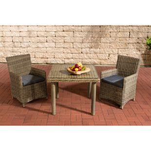 CLP Polyrattan Sitzgruppe DORADO | Gartenmöbel-Set: ein Esstisch mit Glastischplatte und zwei Gartenstühle | In verschiedenen Farben erhältlich