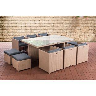 CLP XXL Polyrattan-Sitzgruppe MAUI | Gartengarnitur bestehend aus 6 Sesseln, 4 Hockern und einem Esstisch | Sitzgruppe für 10 Personen