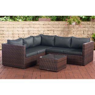 CLP Poly-Rattan Lounge-Set GENERO l Garten-Set mit 5 Sitzplätzen l Garnitur mit Aluminium-Gestell l Komplett-Set bestehend aus: 3er Sofa + 2er Sofa + Tisch