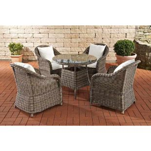CLP Gartengarnitur FARSUND I Polyrattan-Sitzgruppe mit 4 Sitzplätzen I Gartenmöbel-Set: 4 Sessel und ein Esstisch I In verschiedenen Farben erhältlich