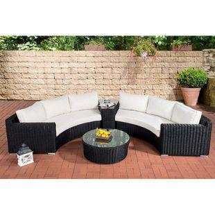 CLP Polyrattan-Gartenlounge BARBADOS mit 6 Sitzplätzen | Garten-Set bestehend aus 2 Sofas und 1 Glastisch | In verschiedenen Farben erhältlich