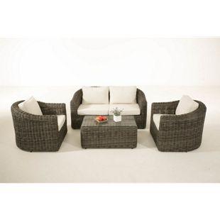 CLP Polyrattan Sitzgruppe BERGEN inkl. Polsterauflagen | Garten-Set: ein Loungetisch, ein 2er-Sofa und zwei Sessel | In verschiedenen Farben