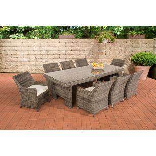 CLP Polyrattan Sitzgruppe SANDNES XL inkl. Polsterauflagen | Garten-Set: großer Esstisch mit Glasplatte und acht Sesseln