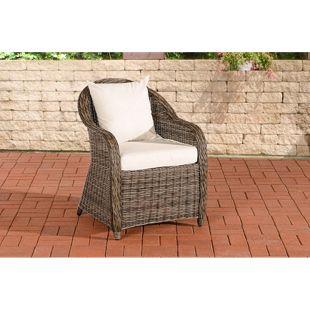 CLP Polyrattan-Sessel FARSUND inklusive Sitzkissen I Robuster Gartenstuhl mit einem Untergestell aus Aluminium I In verschiedenen Farben erhältlich