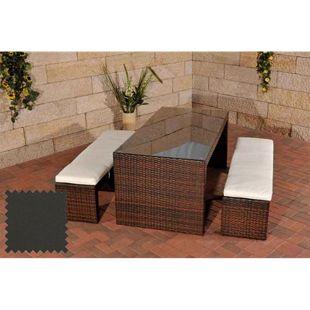CLP Polyrattan-Gartenbar CORUNA   Komplett-Set: 2x Sitzbank und 1x Bartisch   Garten-Set inkl. Sitzpolster   In verschiedenen Farben erhältlich