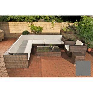 CLP Polyrattan Gartenmöbel-Set BARCELONA   Lounge mit 6 Sitzplätzen   Gartengarnitur mit Aluminium-Gestell   In verschiedenen Farben erhältlich