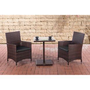 CLP Garten-Sitzgruppe PALERMO l Polyrattan Gartengarnitur mit Aluminiumgestell l Garten-Set: 2 Stühle und ein Tisch l In verschiedenen Farben erhältlich