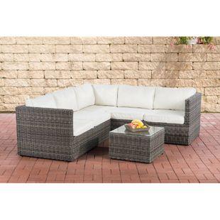 CLP Lounge-Set LIBERI I Polyrattan Möbelgarnitur I Gartenmöbel-Set: 1x 2er Sofa, 1 x 3er Sofa und 1 x Beistelltisch