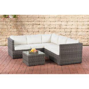 CLP Poly-Rattan Lounge-Set GENERO 5mm l Garten-Set mit 5 Sitzplätzen l Garnitur mit Aluminium-Gestell l Komplett-Set bestehend aus: 3er Sofa + 2er Sofa + Tisch
