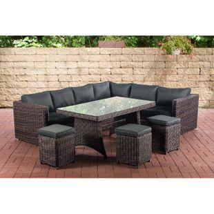 CLP Gartengarnitur SIENA I Sitzgruppe mit 8 Sitzplätzen I Gartenmöbel-Set aus Polyrattan I Outdoor-Möbel