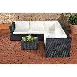 CLP Polyrattan-Gartengarnitur BOLOGNA | Eckbank mit Sitzpolstern und einem Beistelltisch| Pflegeleichte Gartenmöbel mit Aluminium-Untergestell | In verschiedenen Farben erhältlich
