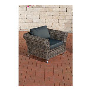 CLP Polyrattan-Sessel VIVARI mit Sitz- und Rückenkissen | Outdoor-Stuhl mit robustem Untergestell aus Aluminium | In verschiedenen Farben erhältlich