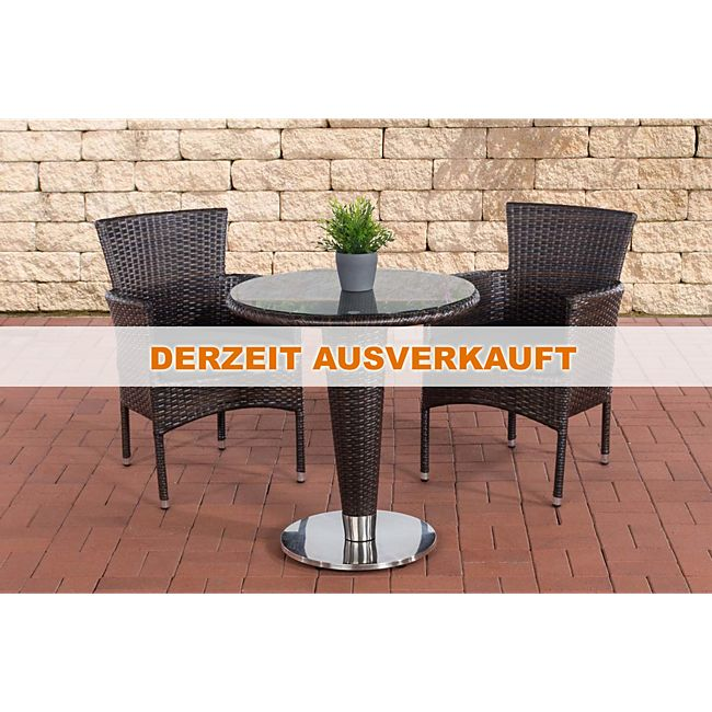 clp poly rattan garten sitzgruppe inez flach rattan esstisch rund 70 cm 2x rattan st hle. Black Bedroom Furniture Sets. Home Design Ideas