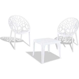 CLP Outdoor-Sitzgruppe ARENDAL   2 stapelbare Stühle und 1 stapelbarer Tisch   Gartenmöbel aus pflegeleichtem Kunststoff   In verschiedenen Farben erhältlich