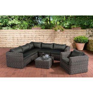 CLP Polyrattan Gartengarnitur MARBELLA | Sitzgruppe mit 6 Sitzplätzen | Gartenmöbel-Set: ein Ecksofa, ein Sessel und ein Beistelltisch
