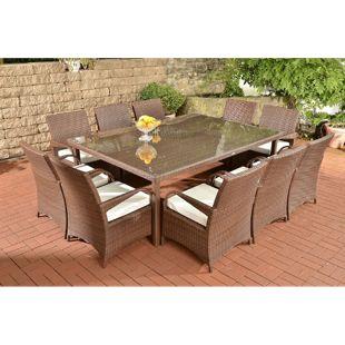 CLP Polyrattan XXL Sitzgruppe PIZZO | Gartengarnitur bestehend aus 10 Stühlen und einem Tisch |  In verschiedenen Farben erhältlich