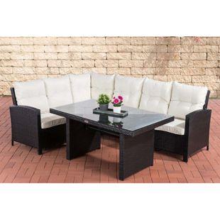 CLP Polyrattan Garten-Set BERMEO mit Esstisch, Eckbank und Sitzpolstern | Sitzgruppe mit Aluminium-Untergestell
