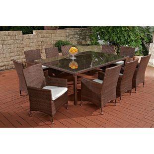 CLP Polyrattan-Sitzgruppe TROPEA | Garten-Set mit 10 Sitzplätzen | Komplett-Set bestehend aus: 10 x Polyrattan Stuhl und 1x Esstisch | In verschiedenen Farben erhältlich