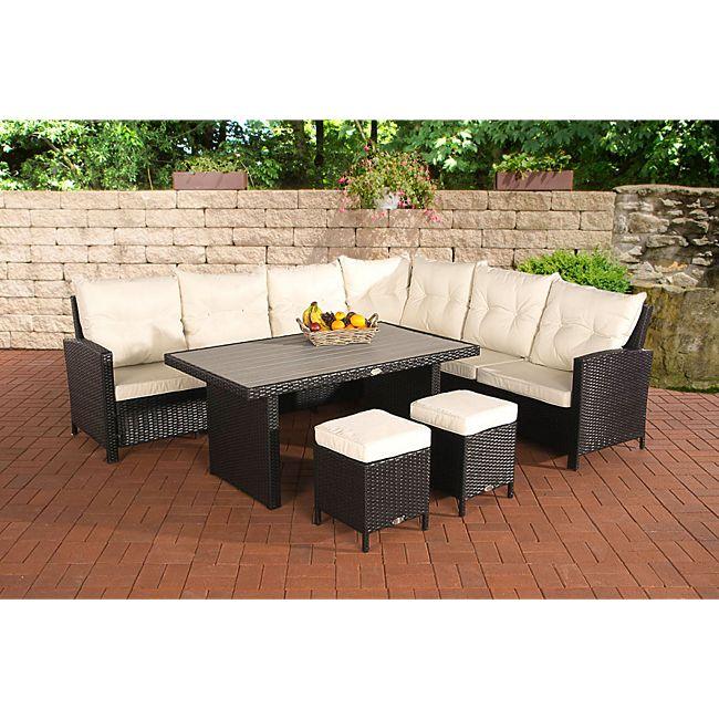clp gartengarnitur vilato bestehend aus 1 ecksofa 2 hockern und 1 loungetisch i sitzgruppe mit. Black Bedroom Furniture Sets. Home Design Ideas