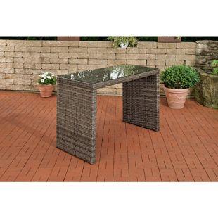 CLP Bartisch LENOX 5mm, rundrattan, Polyrattan Gartentisch, Outdoor Tisch, Aluminiumgestell,